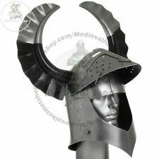 18GA MEDIEVAL TEMPLAR CRUSADER KNIGHT ARMOR GREAT HELMET WITH METAL HORN