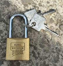Burg Wachter Profi Long Shackle 30mm Brass Padlock - 116/30 - Made in Germany