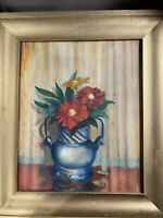 """Antique 1925 """"Still Life With Flowers Scene"""" Oil Painting - Signed And Framed"""
