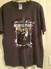 Simple Plan Noise to the World 2005 Tour T Shirt Tee Pop Rock Band Brown