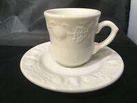 QUADRIFOGLIO FRANCO GIORGI QUD7 FLAT TEA CUP & Saucer SET PURE WHITE DEMITASSE