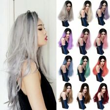 Fashion Full Wigs Long Straight Curly Wavy Ombre Hair Soft Fringe UK
