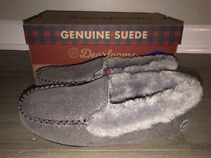Dearfoams Gunmetal Grey Genuine Suede Moccasin Slippers Womens Sz 10 Memory Foam