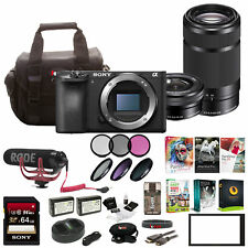 Sony Alpha a6500 Digital Camera with 2.95-Inch LCD (Body) w/ 2 lens Bundle & Mic