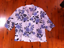 STYLISH MILLER'S PURPLE/GREY FLORAL SHEER TOP SIZE: 14 NEAR NEW