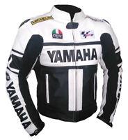 YAMAHA Corsa Motociclista Cuoio Giacca Gara Uomo Motociclo Pelle Giacca EU 46-60