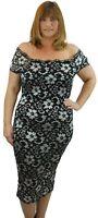 New Plus Size Ladies Off Shoulder Bardot Bodycon Midi Evening Floral Lace Dress