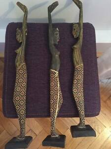 Set of 3 women statues light wood sculptures tribal traditional african
