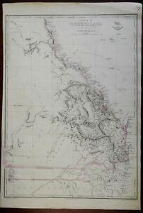 Queensland Colony Australia Brisbane Maryborough c. 1860 Weller map