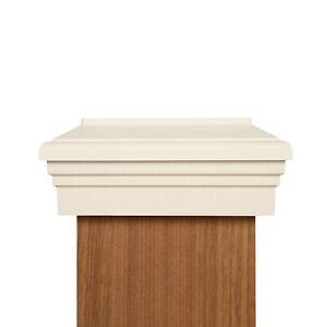 "6X6 Post Cap (6"") - White Flat Newel Style Top Fence Post Cap"