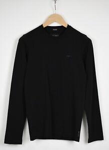 ARMANI JEANS EXTRA SLIM Men's SMALL Black Plain Long Sleeve T-Shirt 35806_GS