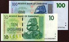 "Zimbabwe ""$100-Trillion Series"" (2008) 3CE {pakimProPAK} $10+$100 UNC: VA266.x"