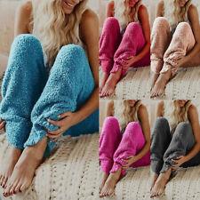 Womens Plus Size Pants Autumn Winter Loose High Waist Solid Plush Pajama Bottoms