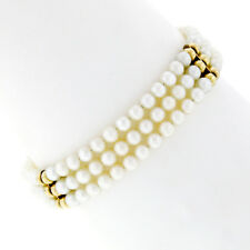 3 Strand Pearl Bracelet w/ 14k Yellow Gold Bead & Bar Sections & Filigree Clasp