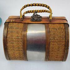 Vintage Bamboo Basket Purse Hinged Hook Clasp Wicker Straw Metal Wood Boho