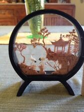Vintage Asian cork carved shadow box picture