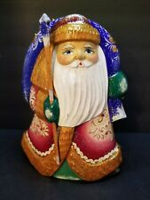 Russian Wood Hand Carved And Painted Santa