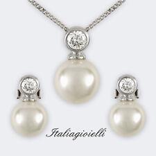 Parure Donna Argento 925 rodiato Oro Bianco con Perle e Brillanti 1,53 Kt