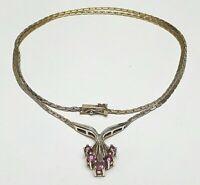 Vintage Silber Collier Bi-Color 925 punziert Kastenschloss 5 kleine Rubine bes.