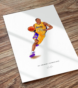 Kobe Bryant #24 Los Angeles Lakers Basketball Illustrated Print Poster Art