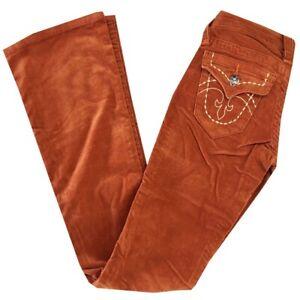 NWT Women's ROCK REVIVAL SLIM FLARE CORDUROY Jeans Rust/ Burnt Orange SZ: 25-31