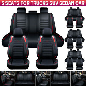 Full 5-Seats Car Seat Covers Waterproof PU Leather Universal for Sedan SUV Truck
