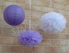 10x lilac white paper pom pom purple lantern wedding party babyshower decoration
