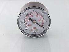 Vakuum Messgerät 50mm -0-1000mBar- 30inHg-0 1/4 Bspt Stecker Rückverbindung G32