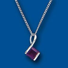 """Amethyst Pendant Princess Solitaire Necklace Solid Sterling Silver 18 """" Chain"""