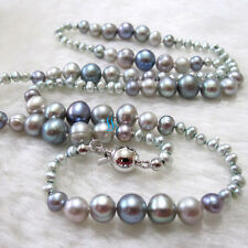 "21"" 3-8mm Gray Freshwater Pearl Graduated Necklace Fashion Jewelry U"