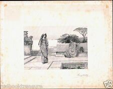 Henry Wolf 1890 Signed Wood Engraving Proof - Horace and Lydia after Weguelin