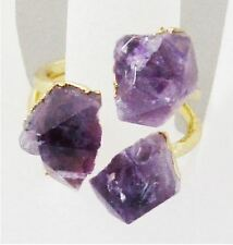 AMETHYST Raw Crystal Quartz Prism Chakra Healing Bead Natural Gemstone Gold RING