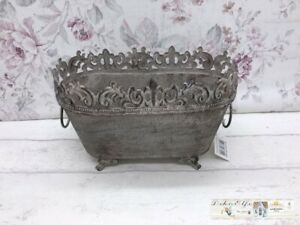 Plants Bowl Metal Vintage Shabby Chic Country
