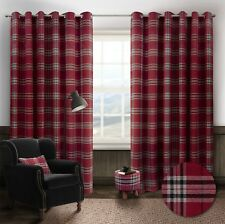 "Thermal Tartan Check Ring Top Eyelet Curtains Ready Made Lined Width 66"" / 90"""