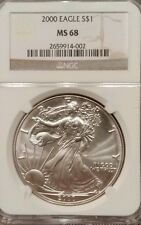 2000-P NGC Silver Eagle, MS68, Brown NGC Label