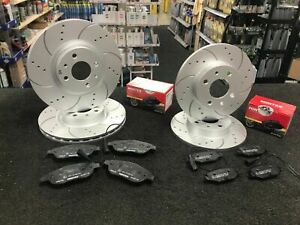 FOR FIAT 500 ABARTH 1.4 312 595 FRONT REAR DRILLED GROOVED BRAKE DISCS AND PADS