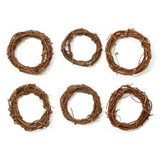 Brown Grapevine Wreath Round- 4 inches- SET OF 6 - Shabby Rustic Wedding Party H