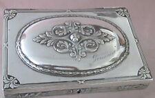Coffret boite à bijoux ancienne en métal argenté feuilles de laurier