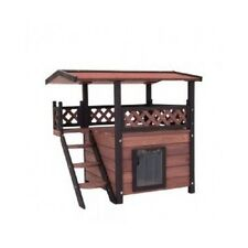 Outdoor Cat House Patio Kitten Shelter Garden Small Dog Kennel Wooden Cats House