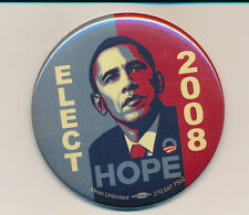 "2008 Obama 3"" HOPE campaign button - made in San Antonio, Texas TX"