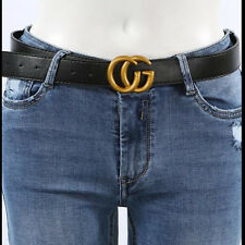 Real Leather Letter Belt Men Gold Metal Buckle Belts Lady Party Waistband Unisex