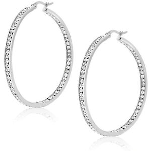"""3"""" Inside Out Pave Set CZ Hoop Earrings White Gold Plated Italian Design"""