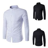 New Mens Chinese Kung Fu Top T-shirt Long Sleeve Slim Button Blouse Stand Collar