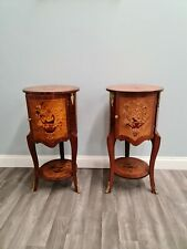 More details for pair of vintage walnut drum nightstands with inlays