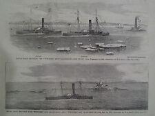 Naval Race Winooski and Algonquin Faulkners Island 1866 Print Harper's Weekly