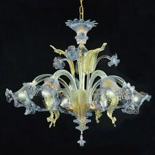 Ca' venier lustre en verre de Murano 5 lumières cristal or bleu