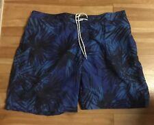 Men's   Dark Blue Tropical swim Trunks  size XXL  by St John's Bay