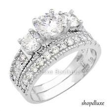 3.75 карат круглый вырез цирконий винтаж стерлинговое серебро обручальное кольцо комплект женский размер 4-11