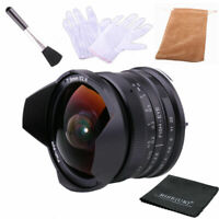 RISESPRAY 7.5mm F2.8 Fisheye lens for Panasonic and Olympus M4/3 cameras (Black)