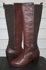 FRYE JANIS GORE TALL US 9 Womans Knee High Boot Dark Brown Buffalo Leather